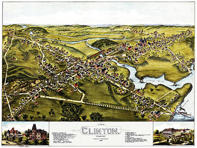 Photograph - Map Of Clinton Connecticut 1881 by Phil Cardamone