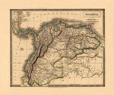 Photograph - Map Of Colombia 1828 by Andrew Fare