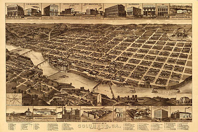 Photograph - Map Of Columbus 1886 by Andrew Fare