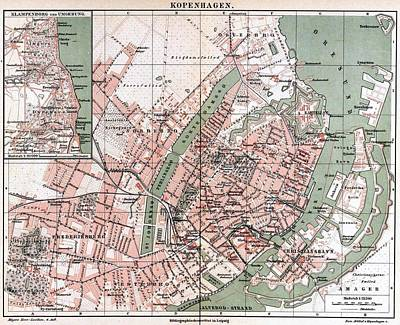 1880s Drawing - Map Of Copenhagen 1888 by Mountain Dreams