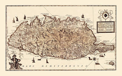 Photograph - Map Of Corsica 1771 by Andrew Fare