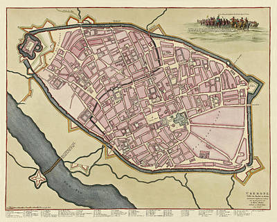 Photograph - Map Of Cremona 1702 by Andrew Fare