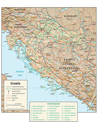 Chart Mixed Media - Map Of Croatia 2 by Roy Pedersen