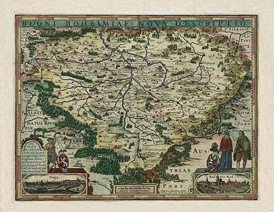 Map Of Czech Republic 1618 Art Print