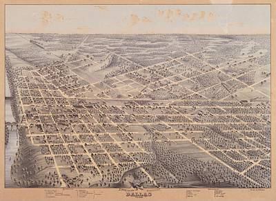 Dallas Drawing - Map Of Dallas 1872 by Mountain Dreams