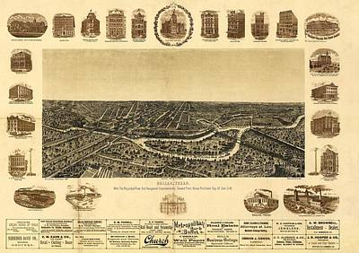 Dallas Drawing - Map Of Dallas 1892 by Mountain Dreams
