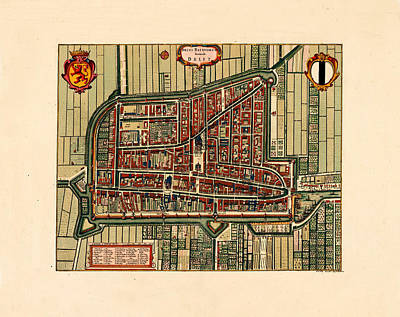 Map Of Netherlands Photograph - Map Of Delft 1695 by Andrew Fare
