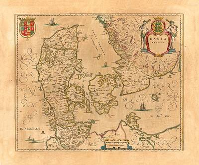 Old Map Photograph - Map Of Denmark 1645 by Andrew Fare