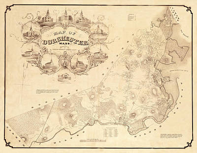 Photograph - Map Of Dorchester 1850 by Andrew Fare