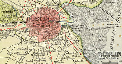 Phoenix Drawing - Map Of Dublin by Irish School