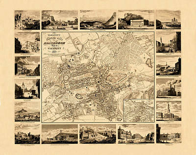 Vintage Map Photograph - Map Of Edinburgh 1827 by Andrew Fare