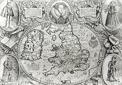 Map Of England During The Reign Of Queen Elizabeth I, 1590  Art Print