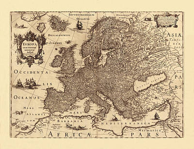 Photograph - Map Of Europe 1631 by Andrew Fare