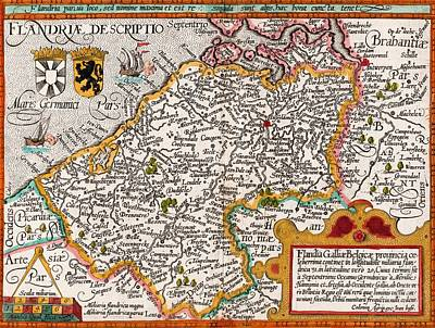 Map Of Flanders By Cartographer Art Print
