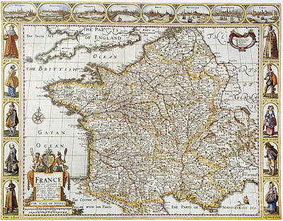 Photograph - Map Of France, 1627 by Granger