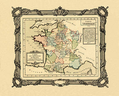 Photograph - Map Of France 1765 by Andrew Fare