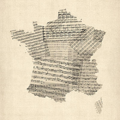 Map Of France Old Sheet Music Map Art Print by Michael Tompsett