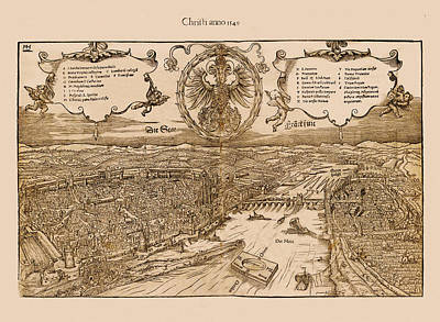 Photograph - Map Of Frankfurt 1549 by Andrew Fare