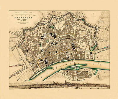 Map Of Frankfurt 1853 Art Print by Andrew Fare
