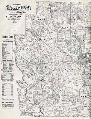Columbus Drawing - Map Of Franklin County Ohio 1883 by Mountain Dreams