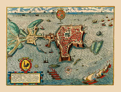 Photograph - Map Of Gallipoli Italy1599 by Andrew Fare