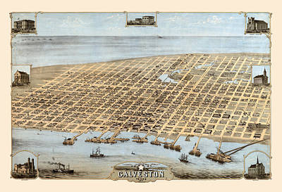 Photograph - Map Of Galveston 1871 by Andrew Fare