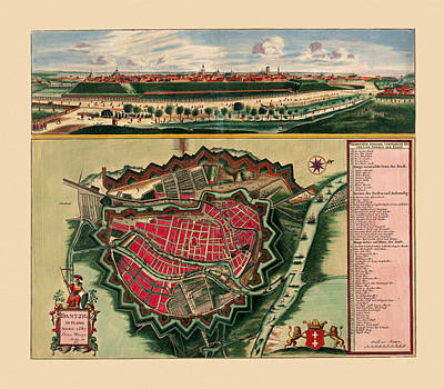 Photograph - Map Of Gdansk 1687 by Andrew Fare
