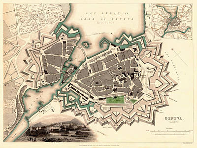 Photograph - Map Of Geneva 1841 by Andrew Fare