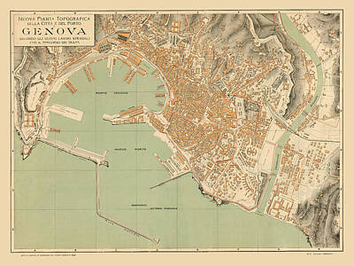 Map Of Genoa 1910 Art Print by Andrew Fare