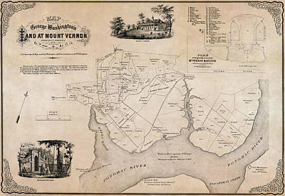Old Map Photograph - Map Of George Washingtons Mount Vernon - 1859 by Daniel Hagerman
