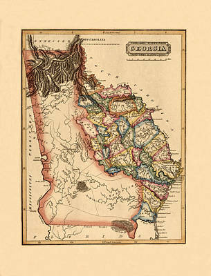 Photograph - Map Of Georgia 1817 by Andrew Fare