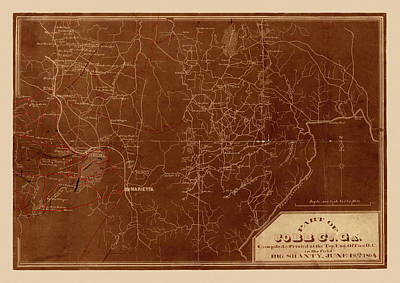 Photograph - Map Of Georgia 1864 by Andrew Fare