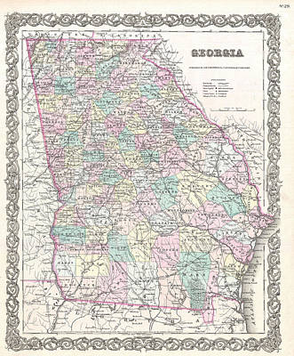 Drawing - Map Of Georgia by Joseph Hutchins Colton