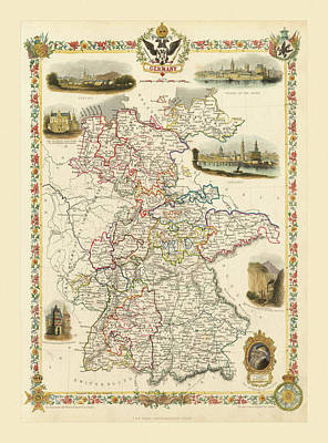 Photograph - Map Of Germany 1851 by Andrew Fare