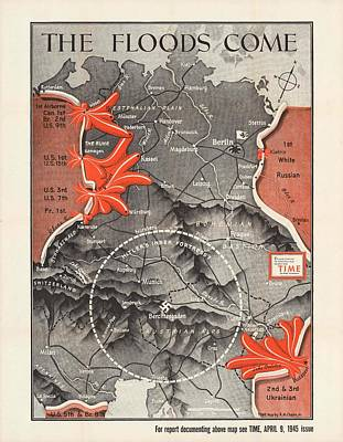 Old World Vintage Cartographic Maps Wall Art - Drawing - Map Of Germany - World War 2 Military Map -time Magazine - Historic Map by Studio Grafiikka