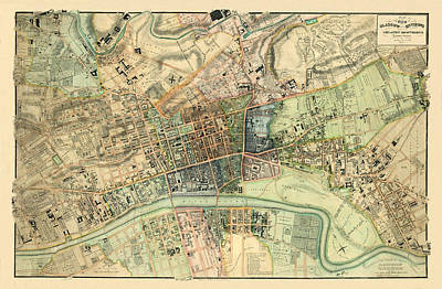 Photograph - Map Of Glasgow 1828 by Andrew Fare