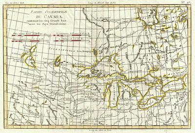 Drawing - Map Of Great Lakes And Upper Mississippi Valley 1775  by Mountain Dreams