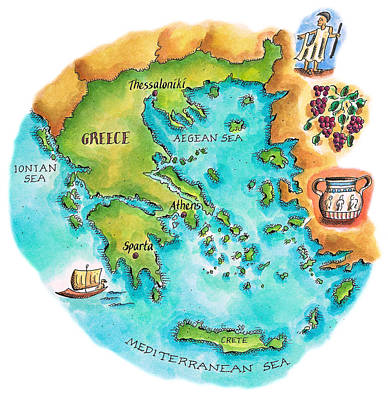 Food And Drink Digital Art - Map Of Greece & Greek Isles by Jennifer Thermes