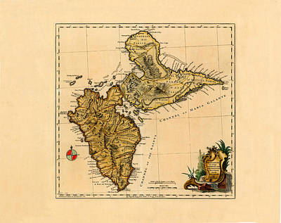 Classic Christmas Movies Royalty Free Images - Map Of Guadeloupe 1761 Royalty-Free Image by Andrew Fare