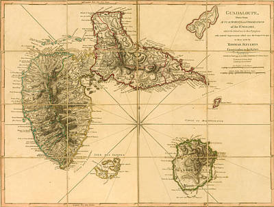 Photograph - Map Of Guadeloupe 1795 by Andrew Fare