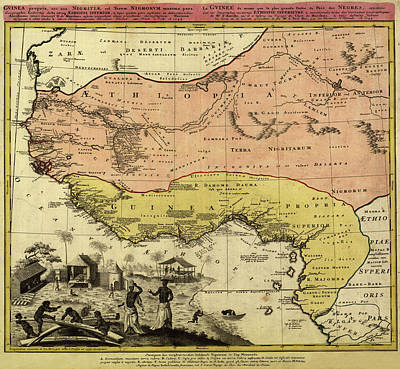 Photograph - Map Of Guinea 1742 by Andrew Fare