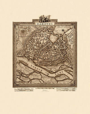 Map Of Hamburg 1803 Art Print by Andrew Fare