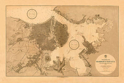 Photograph - Map Of Havana 1879 by Andrew Fare