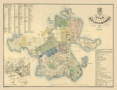Photograph - Map Of Helsinki 1837 by Andrew Fare