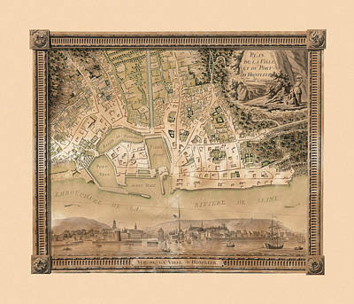 Photograph - Map Of Honfleur 1789 by Andrew Fare