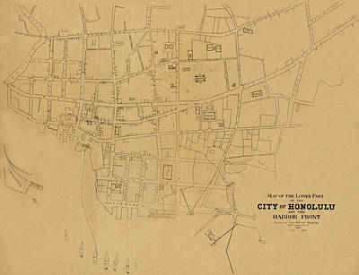 Photograph - Map Of Honolulu 1893 by Andrew Fare