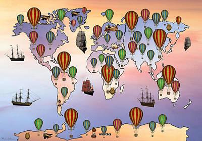 Work Of Art Digital Art - Map Of Hot Balloon by Mark Ashkenazi