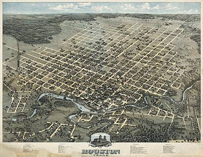 Drawing - Map Of Houston 1873 by Mountain Dreams