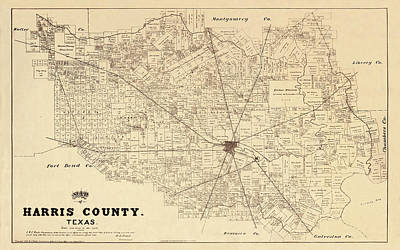 Photograph - Map Of Houston 1879 by Andrew Fare