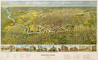 Drawing - Map Of Houston 1891 by Mountain Dreams